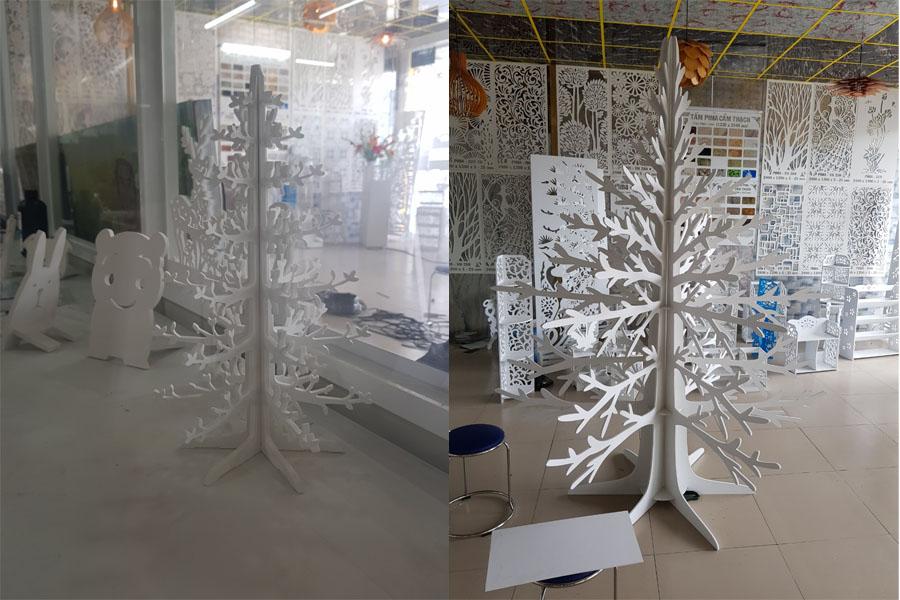 cây thông noel bằng tấm ván nhựa pima